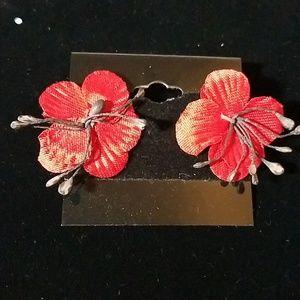 Vintage Hibiscus Red Flower Earrings